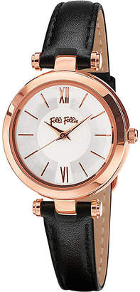 Folli Follie Lady Bubble Mini rose gold-plated stainless steel and leather watch
