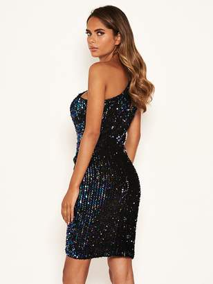 AX Paris One Shoulder Sequin Dress - Black
