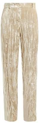 Ann Demeulemeester Crushed-velvet Trousers - Womens - Beige