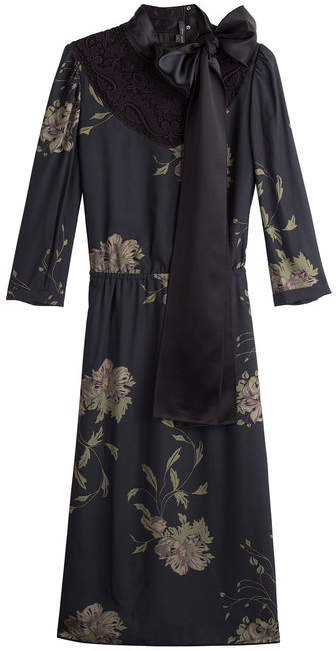Marc Jacobs Printed Silk Dress with Lace