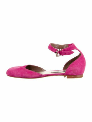 Tabitha Simmons Suede Ankle Strap Flats Pink