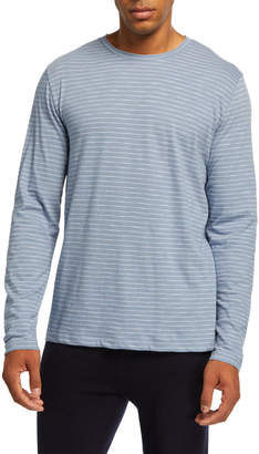 Vince Men's Striped Long-Sleeve Slub Jersey Crewneck T-Shirt
