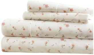 IENJOY HOME Becky Cameron Floral Pattern 4 Piece Bed Sheet Set, Pink, Queen