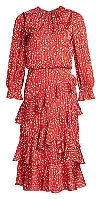ML Monique Lhuillier Women's Floral Ruffle Midi Dress