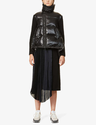 Sacai Contrast panel shell and knitted jacket