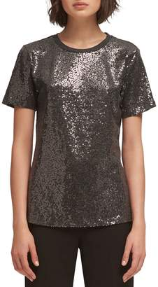 DKNY Short-Sleeve Sequin Top