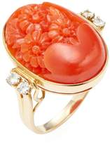 Estate Fine Jewelry Women's Estate Carved Coral & 0.12 Total Ct. Flower Ring