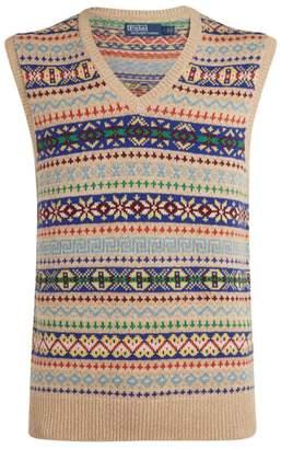 Ralph Lauren Fair Isle Cashmere-Cotton Sweater Vest