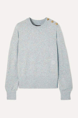 J.Crew Button-detailed Melange Knitted Sweater - Gray