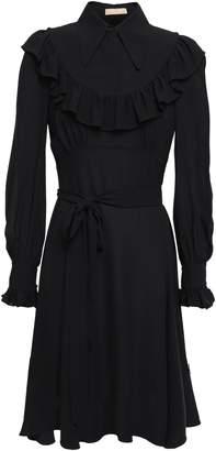 Michael Kors Pussy-bow Ruffle-trimmed Silk-crepe Dress