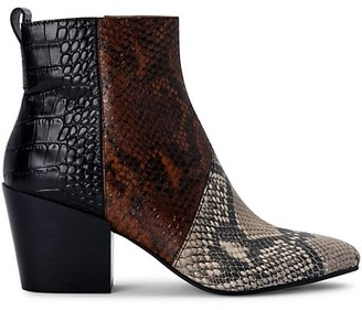 Dolce Vita Crew Snakeskin-Print Leather Booties