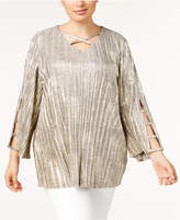 JM Collection Plus Size Lace-Up Metallic Tunic, Created for Macy's