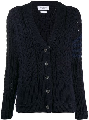 Thom Browne Aran Cable Relaxed V Neck Cardigan W/ 4 Bar In Fine Merino Wool