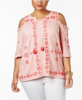 Style&Co. Style & Co Plus Size Embroidered Cold-Shoulder Peasant Top, Created for Macy's
