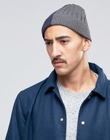 Asos Half And Half Beanie In Navy And Grey