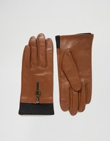 Asos Leather Gloves With Knit & Circle Zip