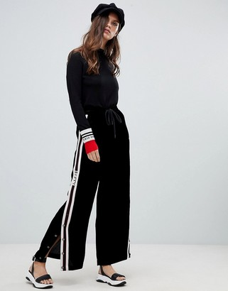 Miss Sixty wide leg pant with popper and seam detail-Black