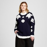 Victoria Beckham for Target Women's Plus Navy and White Floral Lace Appliqué Sweat Top