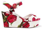 Dolce & Gabbana Floral-print Brocade Wedge Sandals - Red