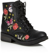 Steve Madden Girls' Embroidered Combat Boots