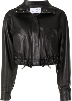 Proenza Schouler White Label Drawstring Nappa-Leather Cropped Jacket