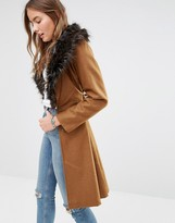 Brave Soul Wool Mix Longline Coat With Oversized Faux Fur Collar
