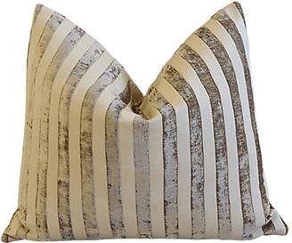One Kings Lane Vintage Tan & Cream French Velvet Striped Pillow