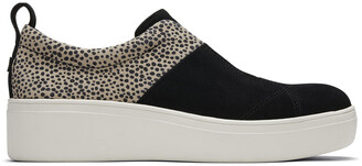 Toms Black Suede Cheetah Amber Slip-On
