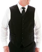 JCPenney Stafford Super 100 Black Stripe Suit Vest-Big & Tall