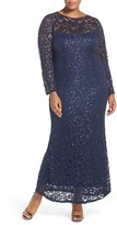 Marina Plus Size Women's Illusion Yoke & Long Sleeve Lace Gown