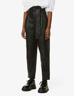 RED Valentino High-rise tapered leather trousers
