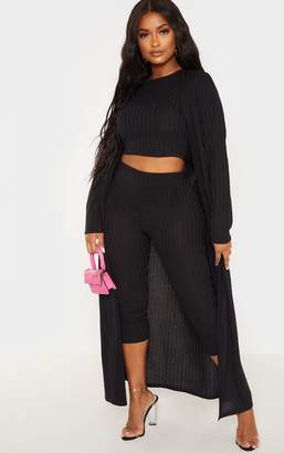 PrettyLittleThing Shape Black Wide Rib Maxi Cardigan