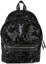 Saint Laurent logo monogram backpack - women - Cotton/Polyester/Sequin - One Size