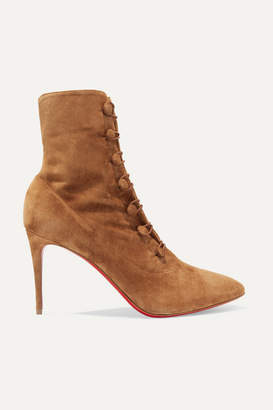 Christian Louboutin French Tutu 85 Suede Ankle Boots - Tan