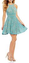 Jodi Kristopher Lace Illusion Waist Fit-And-Flare Dress