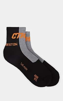 "Heron Preston Men's ""Style"" Colorblocked Cotton-Blend Ankle Socks - Black"