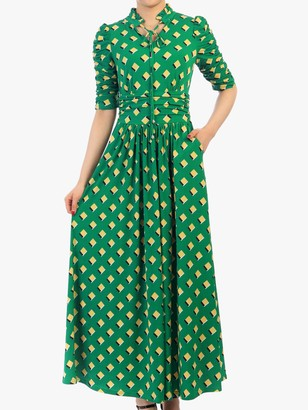 Jolie Moi Geo Print Tie Collar Half Sleeve Maxi Dress, Green/Multi