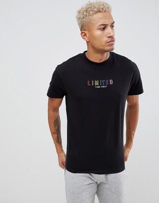 Night Addict Limited Rainbow Embroidered T-Shirt-Black