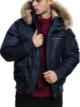 Urban Classics Men's Hooded Heavy Fake Fur Bomber Jacket
