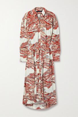 Proenza Schouler Printed Crepe Maxi Shirt Dress - Red