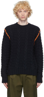 Loewe Navy Wool and Cashmere Cable Knit Sweater