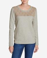 Eddie Bauer Women's Shoreline Embroidered-Yoke Crewneck Sweatshirt