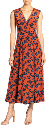 Santorelli Silvia Floral V-Neck Sleeveless Midi Dress