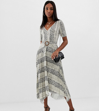 Asos Tall DESIGN Tall v neck midi dress with pleated skirt and belt in snake print-Multi