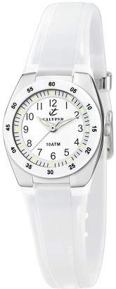 Calypso Women's Quartz Watch with White Dial Analogue Display and White Plastic Strap K6043/A
