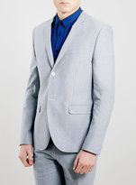 Topman Blue Oxford Skinny Fit Blazer