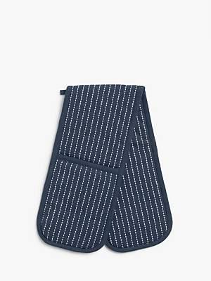 John Lewis & Partners Butcher's Stripe Double Oven Glove, Dark Blue