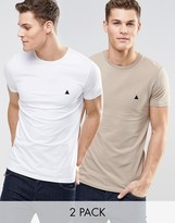 Asos 2 Pack Muscle T-shirt With Logo In White/beige Save