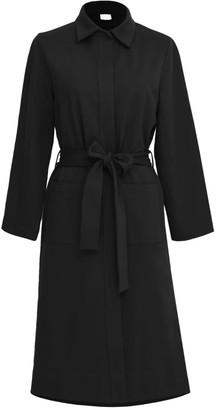Annro Black Wrap Midi Coat