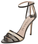 Aperlaï Leather & Mesh Ankle-Wrap Sandal